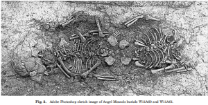 From Marshall et al. 2011, figure 2, showing the burial position of the two children.  Note that this is not a photograph but rather a sketch image. While it's important to show the disposition of the skeletal elements in order to illustrate the scientific background, out of respect for descendent communities I (and others) feel it is inappropriate to post actual photographs of human remains without permission.