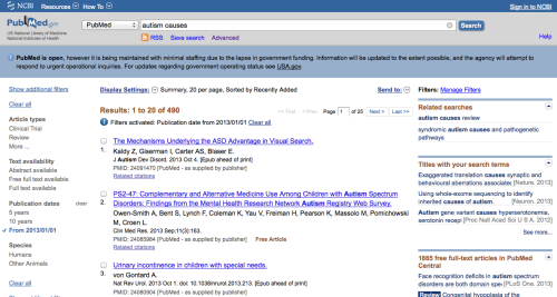 "PubMed search results ""autism causes"" (limited to papers published in 2013)"