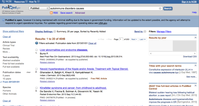 "PubMed search results on ""autoimmune disorder causes"" with results limited to papers published in 2013"