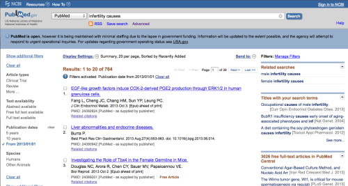"PubMed search results for ""infertility causes"", limited to papers published in 2013"