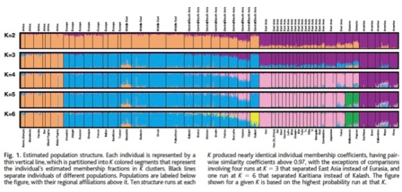 "Figure 1 from Rosenberg et al. 2003 showing Structure runs at 2, 3, 4, 5, and 6 populations. Each population is separated by a black line. Each thin vertical line represents one person. Ancestry groupings inferred from the program on the basis of genetic similarity are represented by different colors, so that a thin vertical line that is ~60% purple and 40% orange indicates a person who was inferred to have 60% ancestry from the ""purple"" genetic cluster and 40% ancestry from the ""orange"" genetic cluster."
