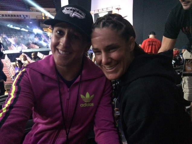 I'm forever a Team Jackson-Winkeljohn girl! Hanging out with my friends Tara LaRosa and Jodie Esquibel after the fights